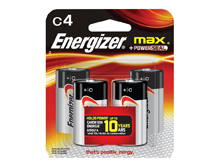Energizer Max E93-BP-4 C-cell Alkaline Button Top Battery - 4 Piece Retail Card