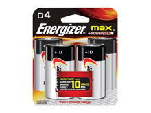Energizer Max E95-BP-4 D Alkaline Button Top Battery - 4 Piece Retail Card