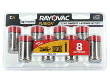 Rayovac Fusion 814-8CT C-cell 1.5V Alkaline Button Top Batteries - 8 Piece Retail Card