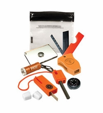 Ultimate Survival Technologies Micro Survival Kit - Includes Compass, Saw, LED Light, Whistle, Mirror, Fire Starter and Tinder (20-711-01)