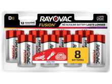Rayovac Fusion 813-8CT D-cell 1.5V Alkaline Button Top Batteries - 8 Piece Retail Card