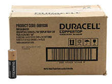 Duracell Coppertop Duralock MN1500 (144PK) AA 1.5V Alkaline Button Top Batteries - Box of 144