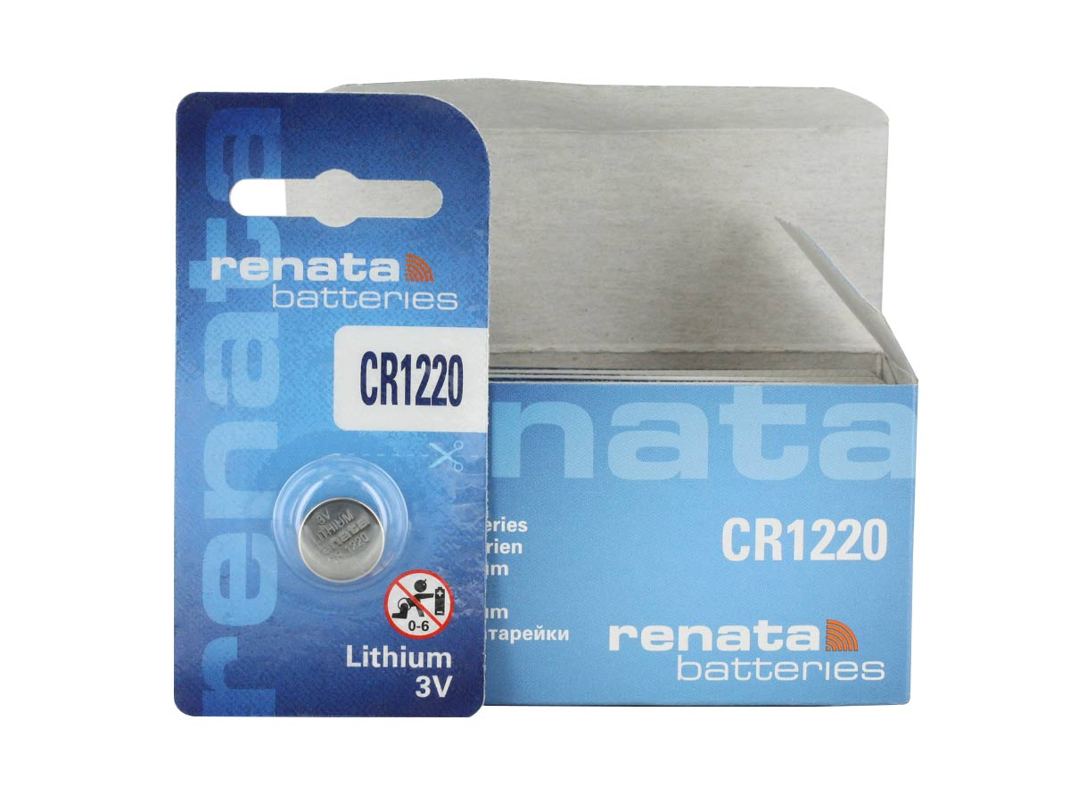 RENATA CR1220-CU COIN CELL BATTERY 1 PIECE RETAIL CARD IN FRONT OF BULK 10 PC BOX