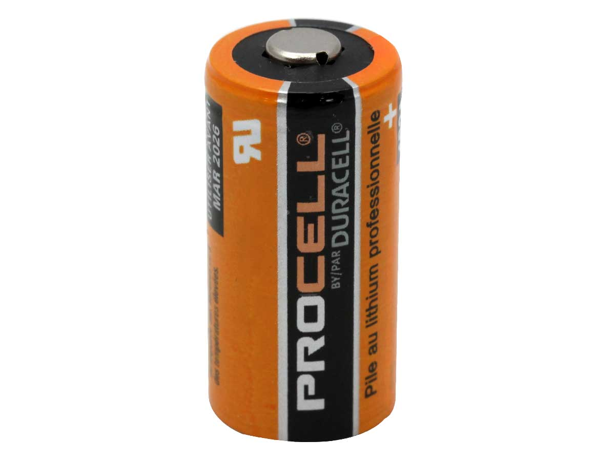 Duracell Procell CR123A battery upright