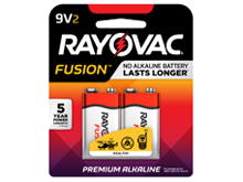 Rayovac Fusion A1604-2T 9V Alkaline Batteries with Snap Connectors - 2 Piece Retail Card
