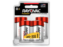 Rayovac Fusion 813-4T D-cell 1.5V Alkaline Button Top Batteries - 4 Piece Retail Card