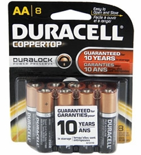 Duracell Coppertop Duralock MN1500-B8 AA LR6 1.5V Alkaline Button Top Batteries - 8 Piece Retail Card