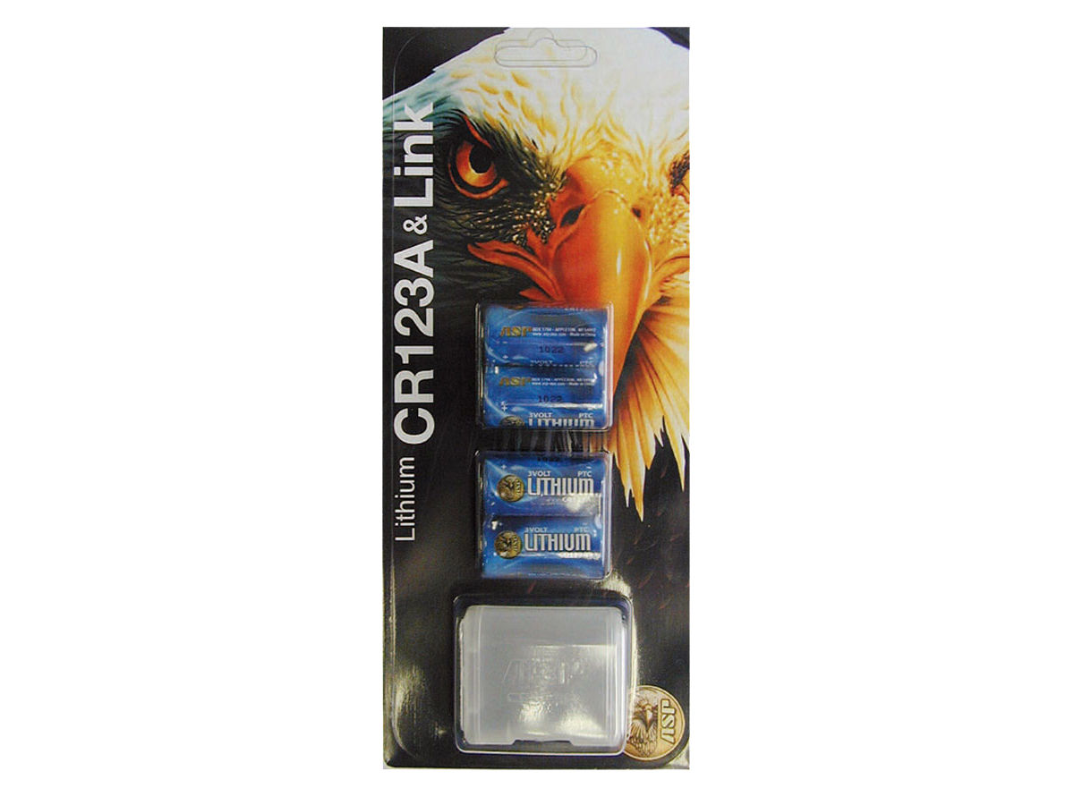 Package Shot of the ASP 4-Pack of CR123A Batteries