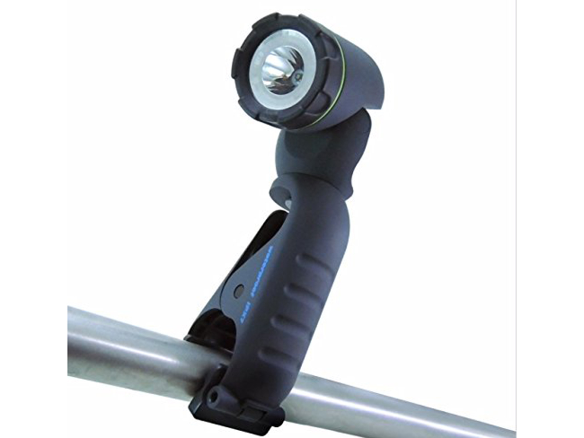 Blackfire Waterproof Clamplight attached to a pole