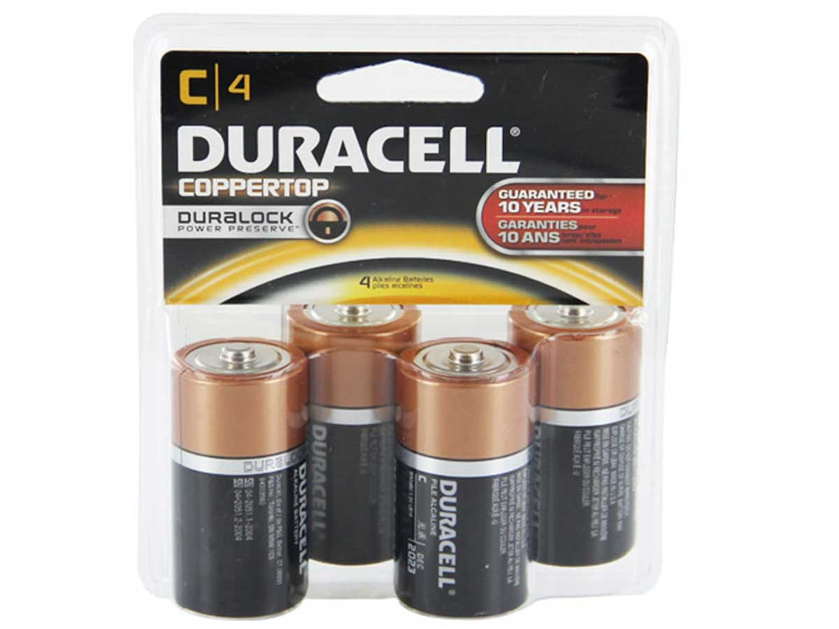Duracell Coppertop C batteries in 4 piece clam shell packaging