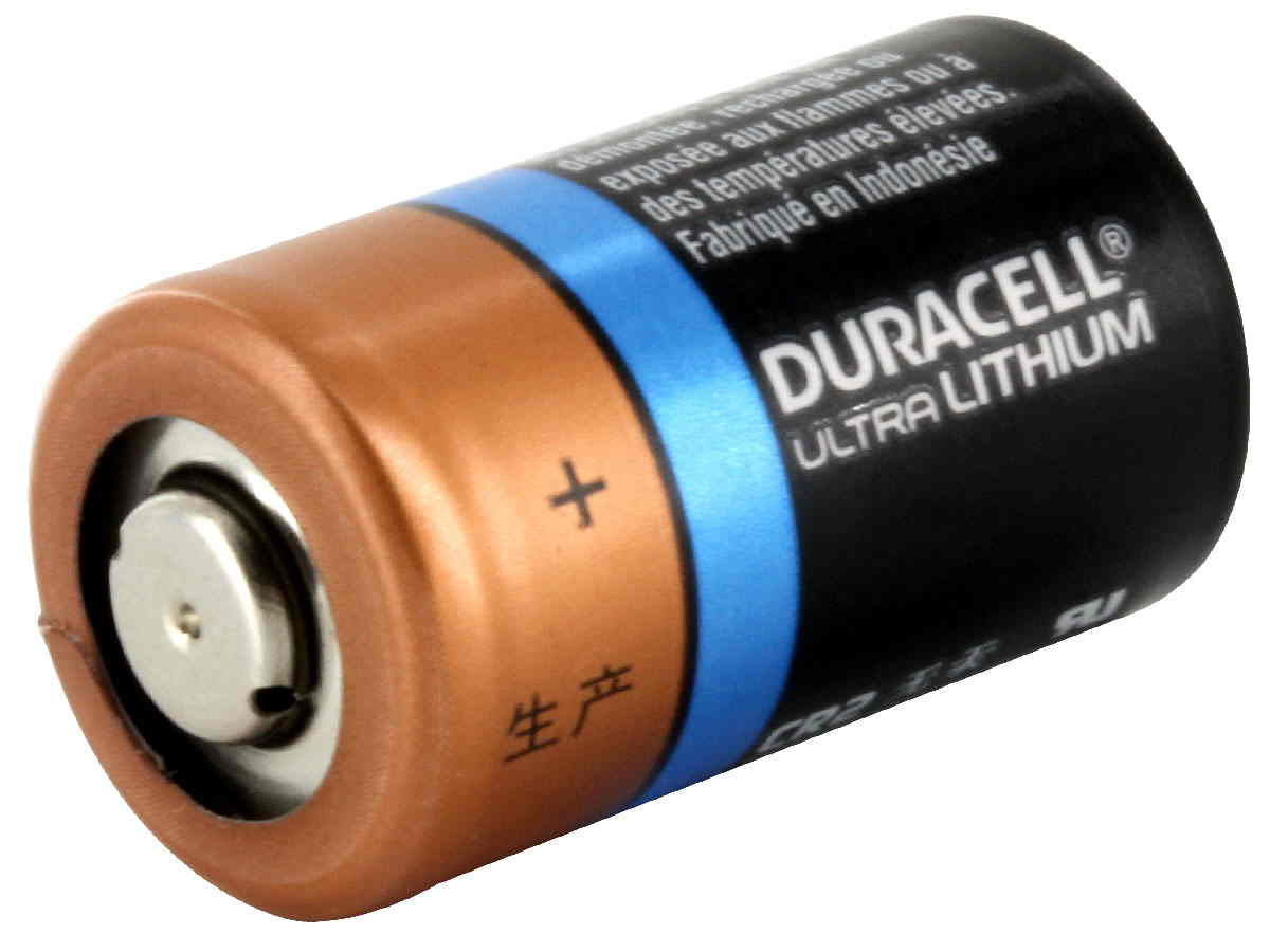 Duracell Ultra CR2 battery side angle
