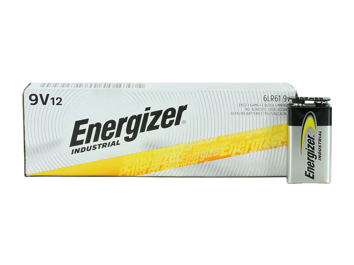 Energizer Industrial 9V 12 pack retail box with singular battery outside of the box