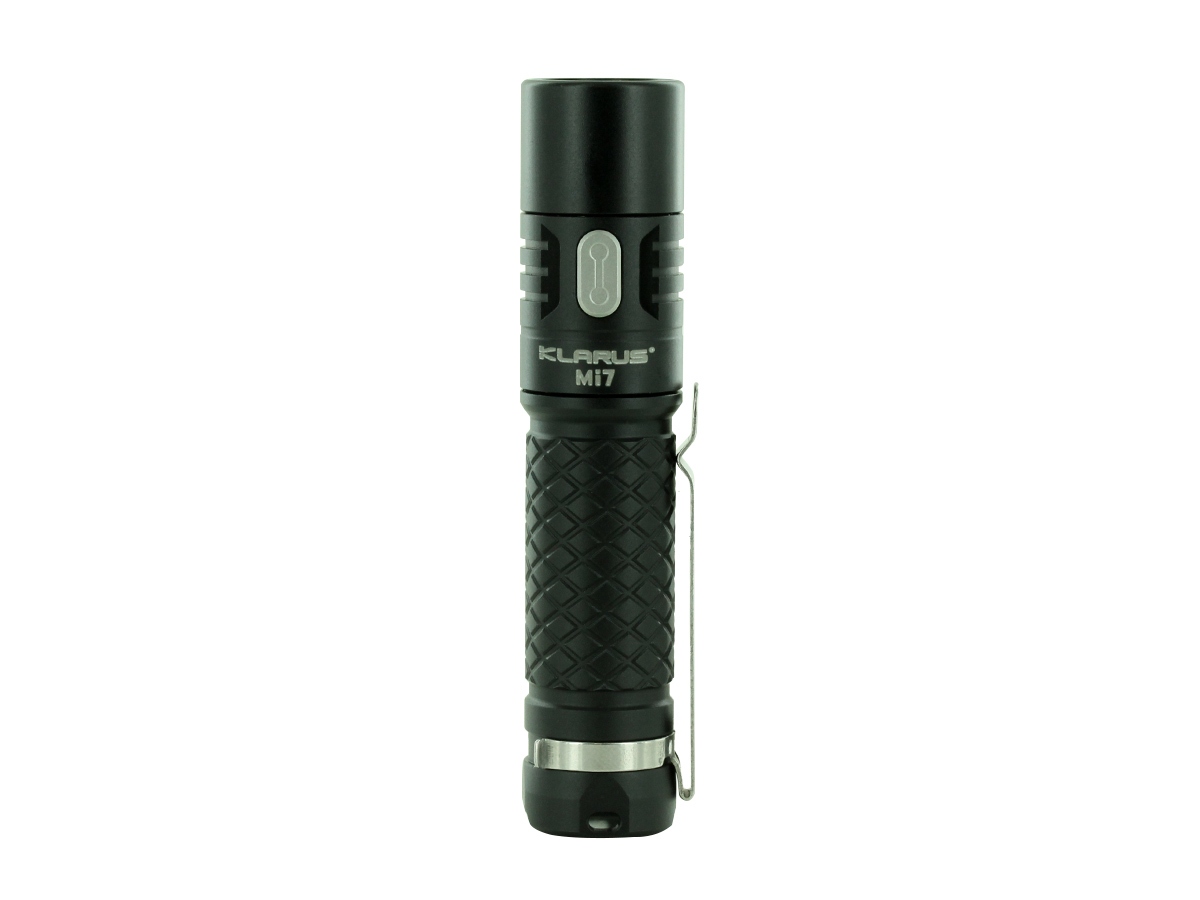 Klarus Mi7 EDC flashlight in black with close up of LED