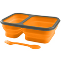 Ultimate Survival Technologies FlexWare Mess Kit 1.0 - Silicone - 2-Compartment Collapsible Food Tray with Fork/Spoon Lid Combo - Orange (20-02732)
