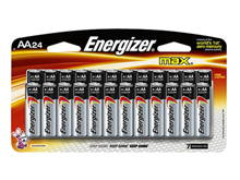 Energizer Max E91-BP-24 AA 1.5V Alkaline Button Top Batteries - 24 Piece Retail Card