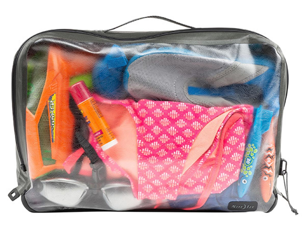 nite ize waterproof large packing cube with mixed contents front view