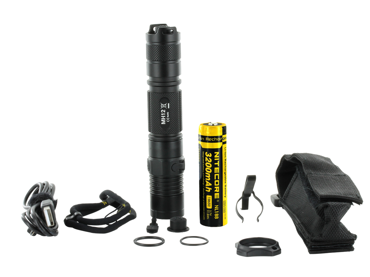 Nitecore MH12 Comes With Nitecore NL188 18650 Battery, Micro-USB Charging Cord, Lanyard, Pocket Clip, Tactical Cigar Ring, Holster, Spare Micro-USB Port Cover, Spare Rubber Tailcap Boot, and Spare O-Rings
