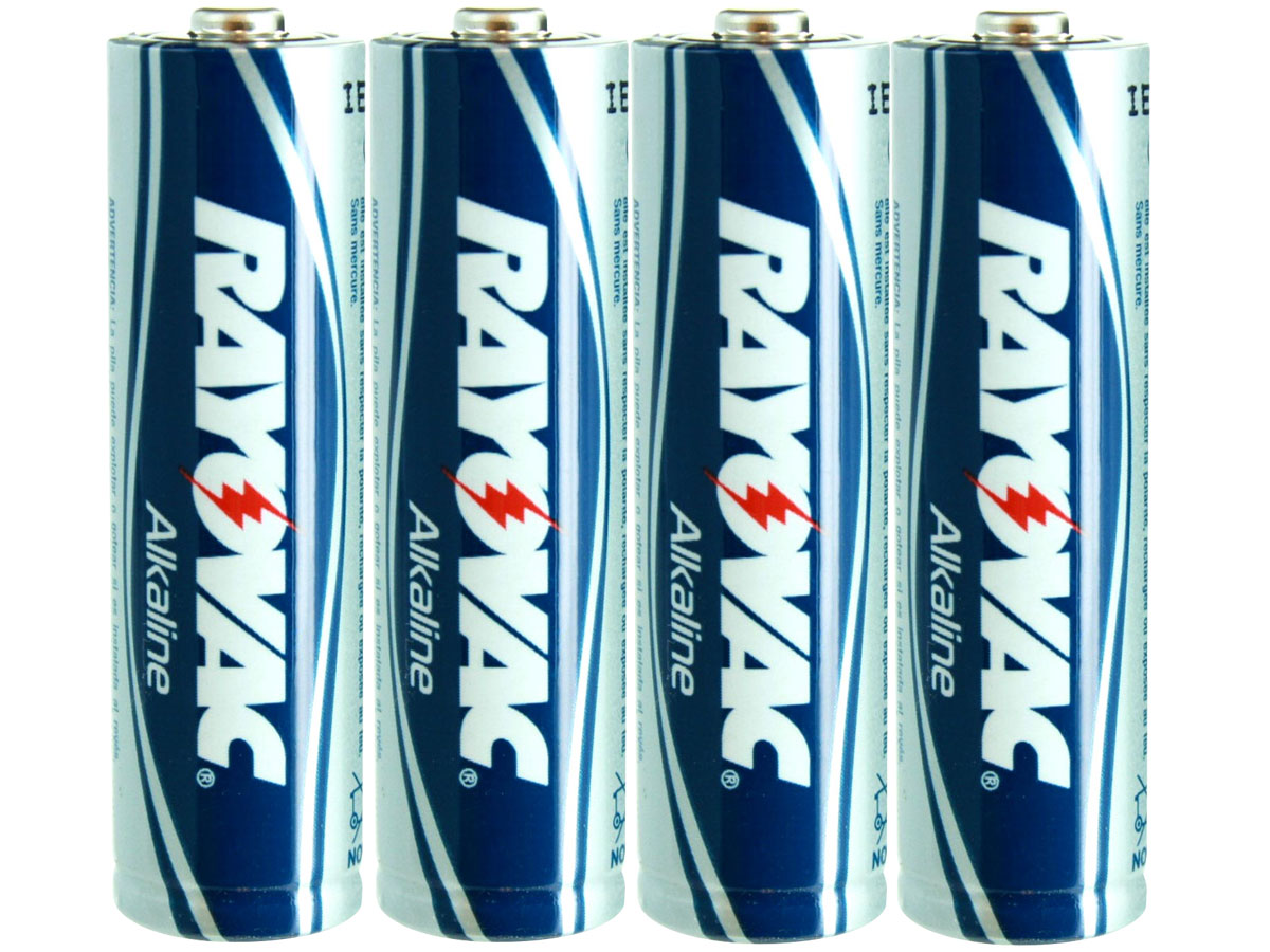 Rayovac 815 AA Batteries Shrink-wrapped in Sets of Four