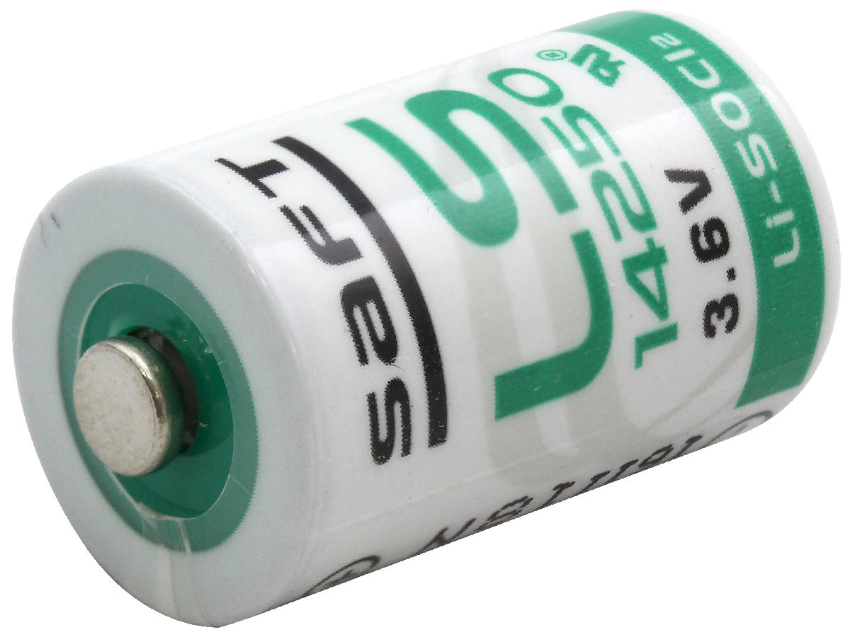 Angle Shot of the Saft 1/2 AA Lithium Thionyl Chloride Battery