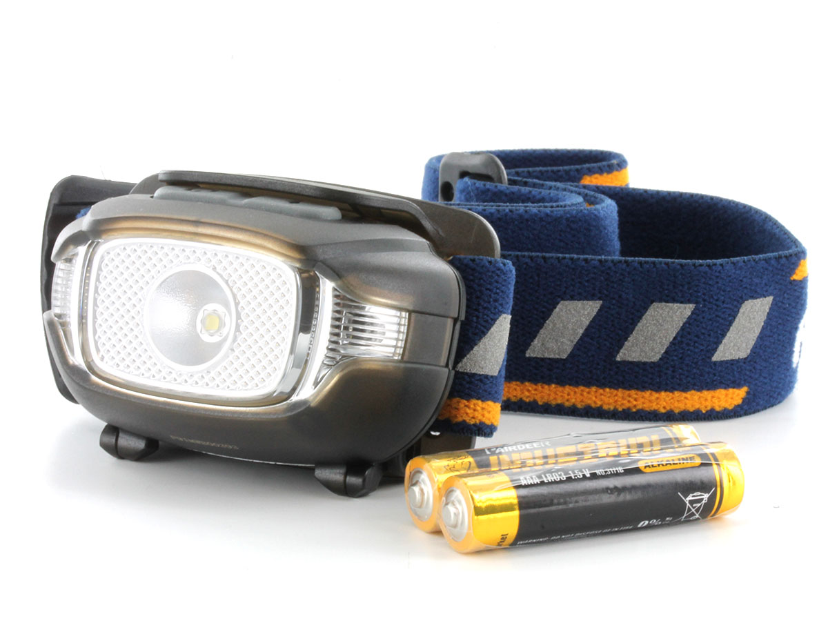 Fenix HL15 headlamp in black side angle with batteries