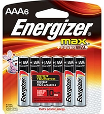 Energizer Max E92-BP-6 AAA 1.5V Alkaline Button Top Batteries - 6 Piece Retail Card