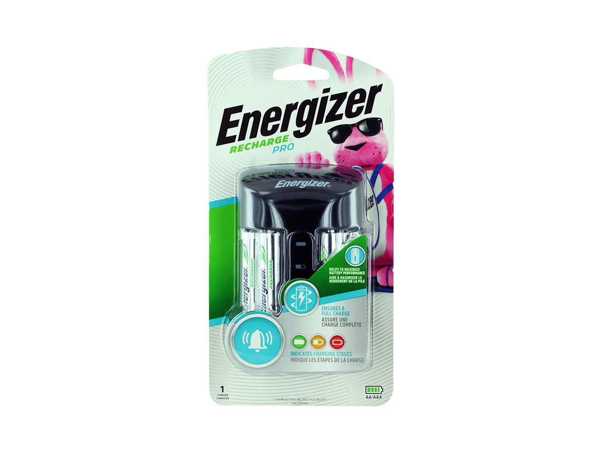 Energizer Pro Charger front view in blister packaging