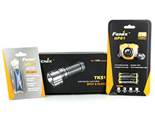 Fenix LED Flashlight Bundle - Includes 1 x TK51-XML2, 1 x HP01-XPGR5-ORANGE and 1 x UC01-BLUE