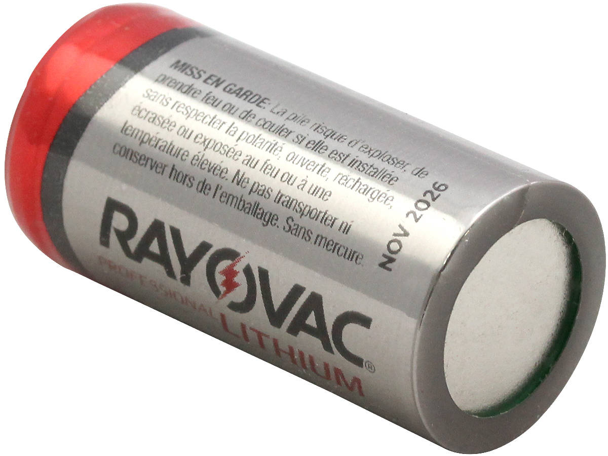 Shot of the Bottom of the Rayovac CR123A Lithium Photo Battery