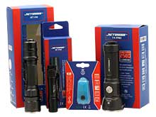 JETBeam LED Flashlight Bundle - Includes 1 x SF-AA01, 1 x T4-PRO, 1 x IIM and 1 x E0-BLUE