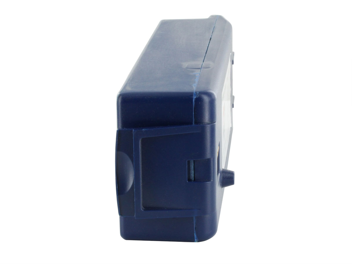 Cardiac Science AED Replacement Battery Pack 9146 - Blue -  showing the left end of the battery