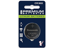 Panasonic CR3032 500mAh 3V Lithium Primary (LiMnO2) Coin Cell Watch Battery - 1 Piece Retail Card