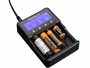 Fenix ARE-C2 4-bay Smart Charger charging batteries left side angle
