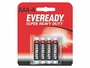 4 Energizer Eveready AAA batteries in retail card