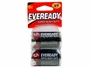 2 Energizer Eveready D-Cells in retail card