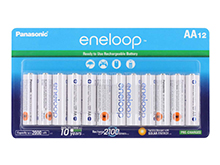 Panasonic Eneloop AA 2000mAh 1.2V Low Self Discharge Nickel Metal Hydride (NiMH) Button Top Batteries  - 12 Pack Retail Card - BK-3MCCA12FA-12AA