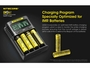 Nitecore UMS4 Charger manufacturer slide stating the charging mode specifically for IMR batteries