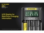 Nitecore UMS4 Charger manufacturer slide describing the benefits of an LCD screen