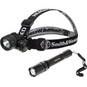 Smith and Wesson Sportsman's Combo - Headlamp and High Performance LED Flashlight - 2x AA and 3x AAA Batteries Included