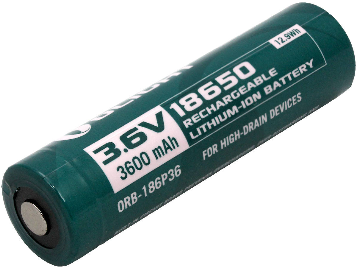 Angle Shot of the Olight ORB-186P36 18650 Lithium Ion Battery