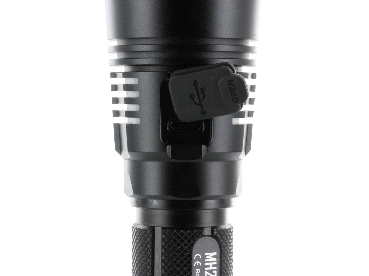 Close-Up of Nitecore MH27's Micro-USB Charging Port Located Below the Head