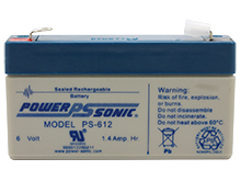 Power-Sonic PS-612 1.4AH 6V Rechargeable Sealed Lead Acid (SLA) Battery - F1 Terminal