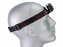 Klarus HC1-R Triple Headlamp with elastic band around model head looking to the right