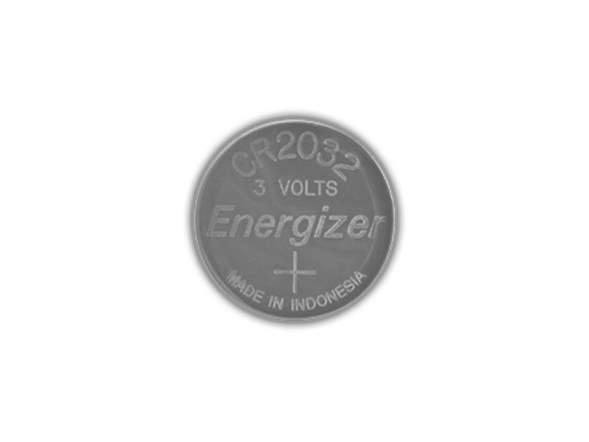 Energizer ECR2032 coin cell front view