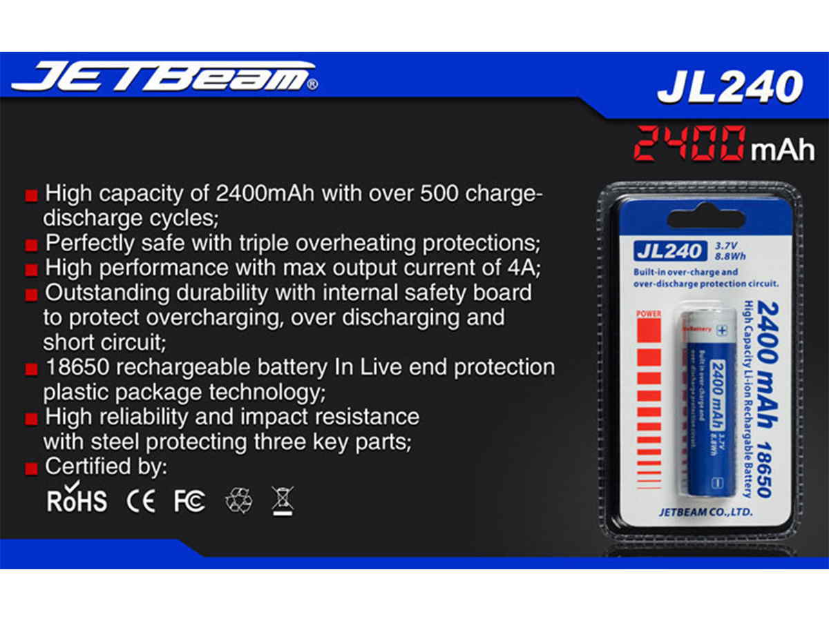 Slide two for JETBeam JL240 18650 battery