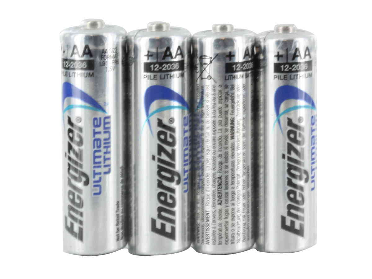 4 Energizer Ultimate L91 AA batteries in shrink wrap