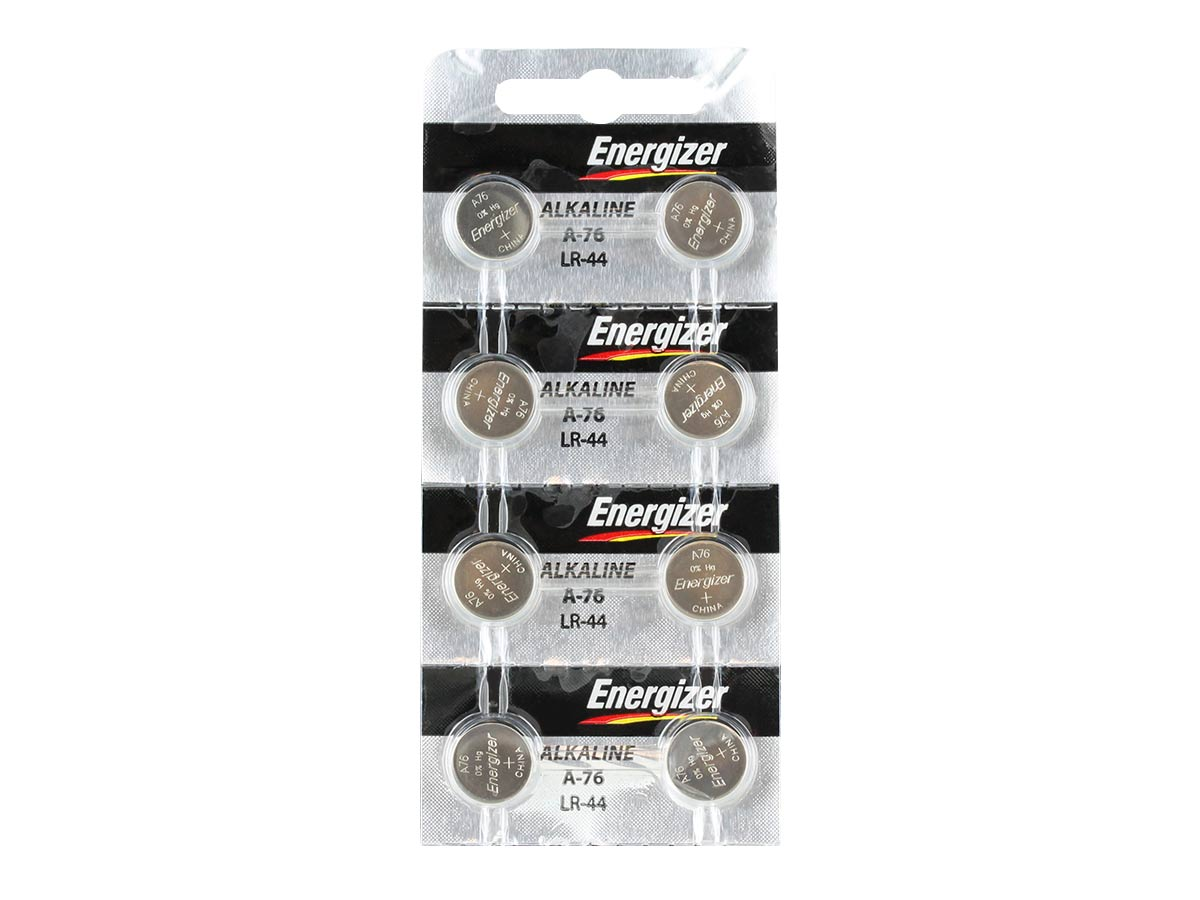 Set of 8 Energizer A76 coin cells in tear strip packaging