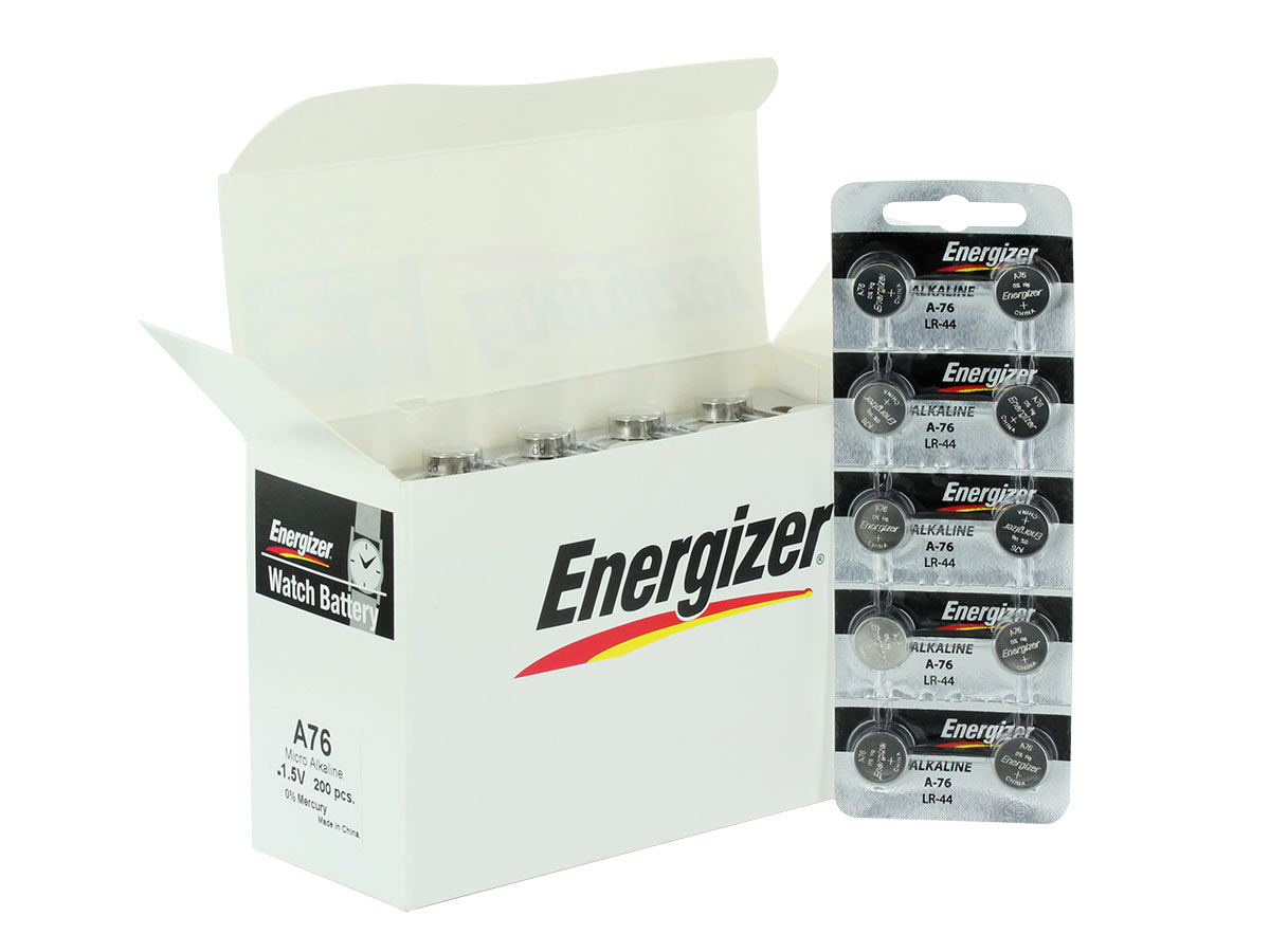 Box for Energizer A76 coin cells and set of 8 tear strips