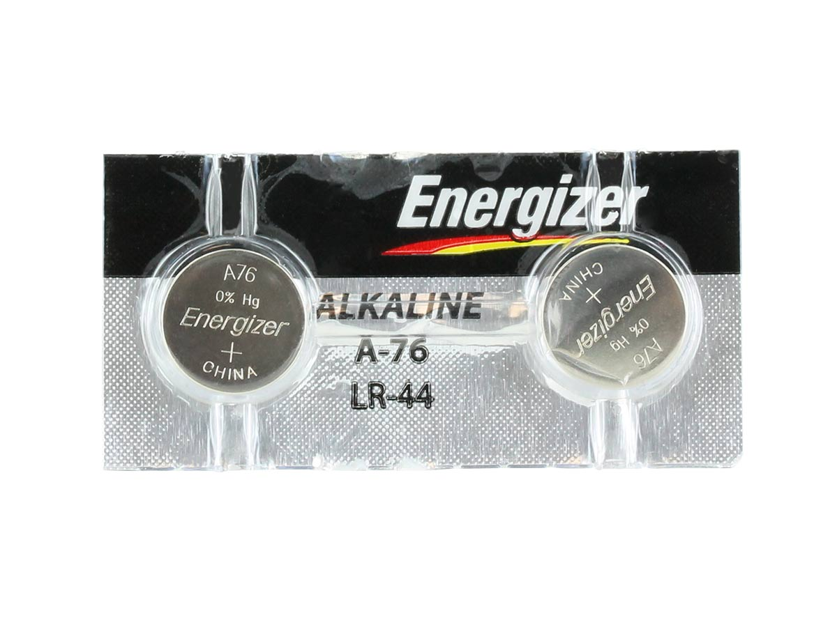 Single Energizer A76 coin cell front side angle view