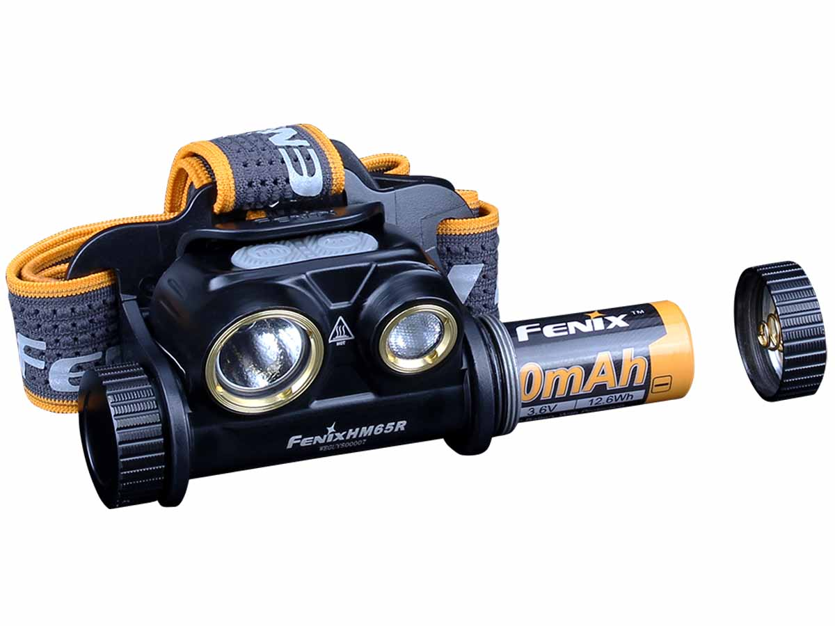 Fenix HM65R headlamp with diagram of battery insertion