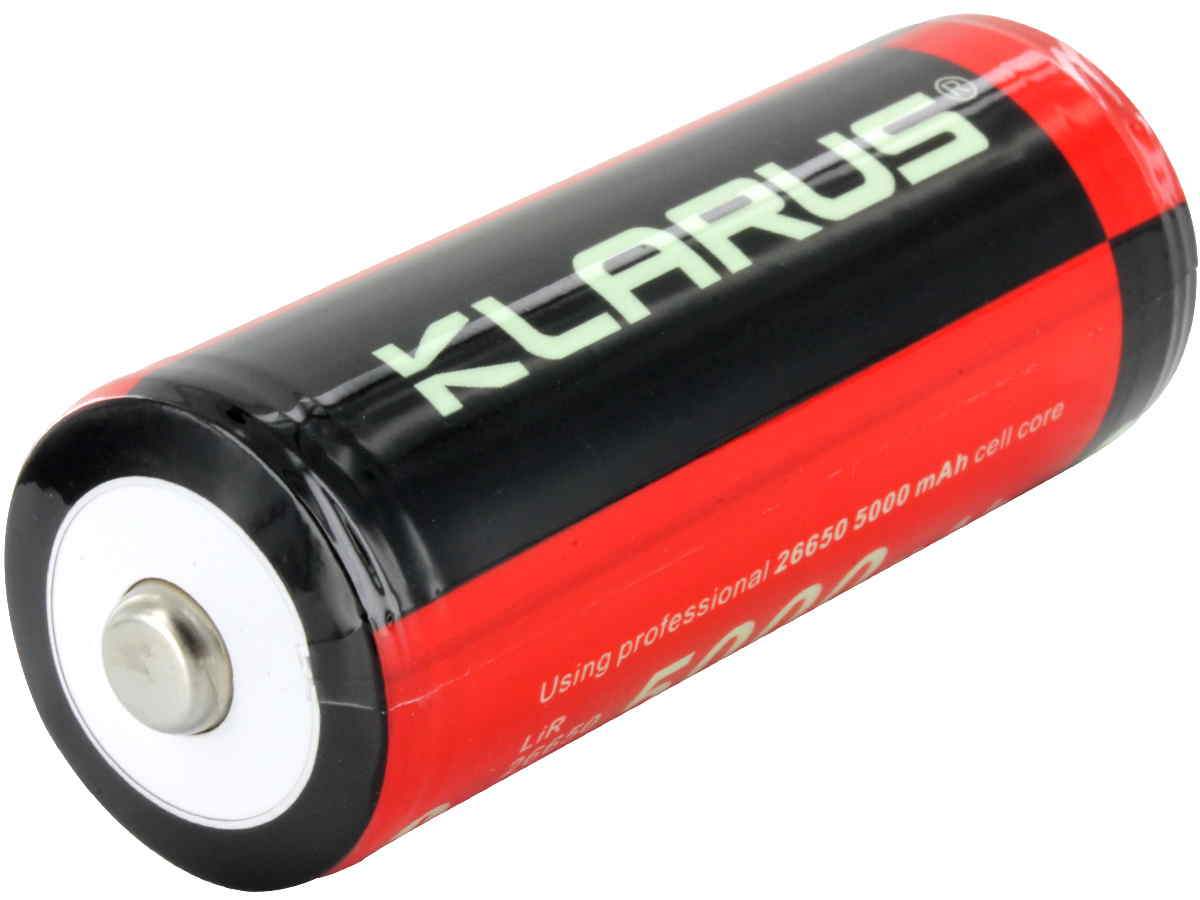 Klarus 26650 battery left side angle